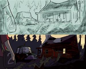 """På Rønneberget har noen flyttet inn... tegning fra boka """"Operasjon Mørkemann""""."""