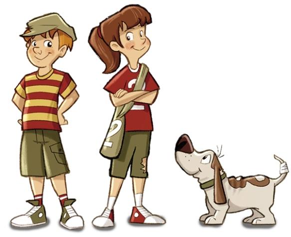 En av de første tegningene av Tiril, Oliver og hunden Åtto. Dette ble guiden for de andre illustrasjonene.