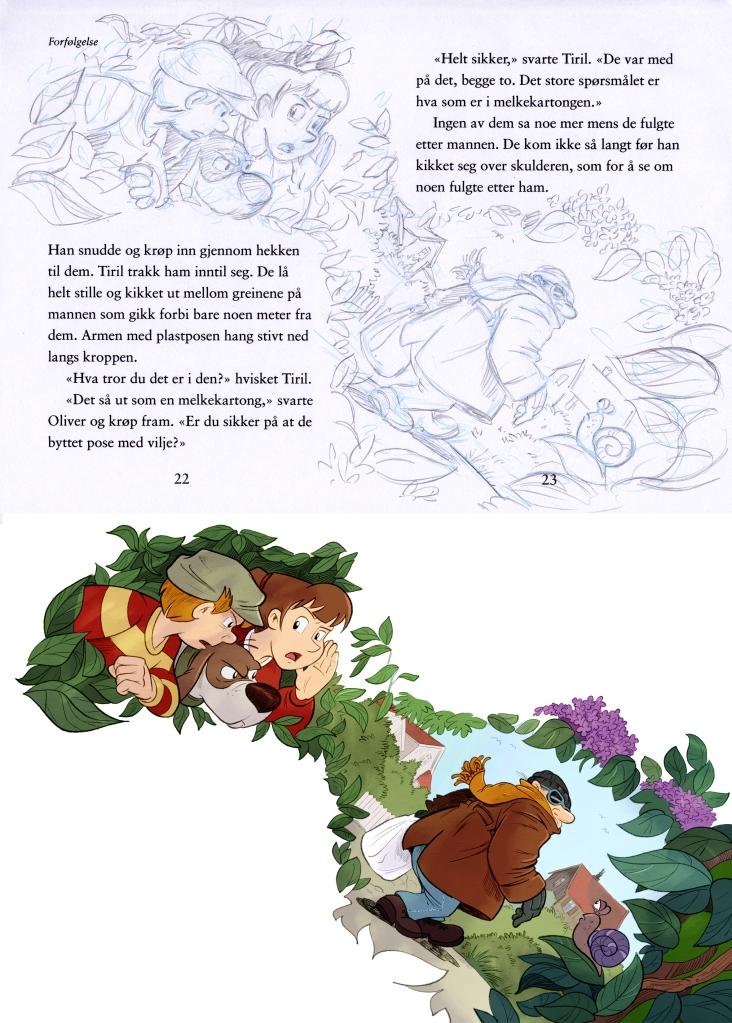 Skisse og ferdig tegning fra Operasjon Plastpose - 2015