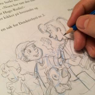 Tiril, Oliver og hunden Åtto skisses på papir.